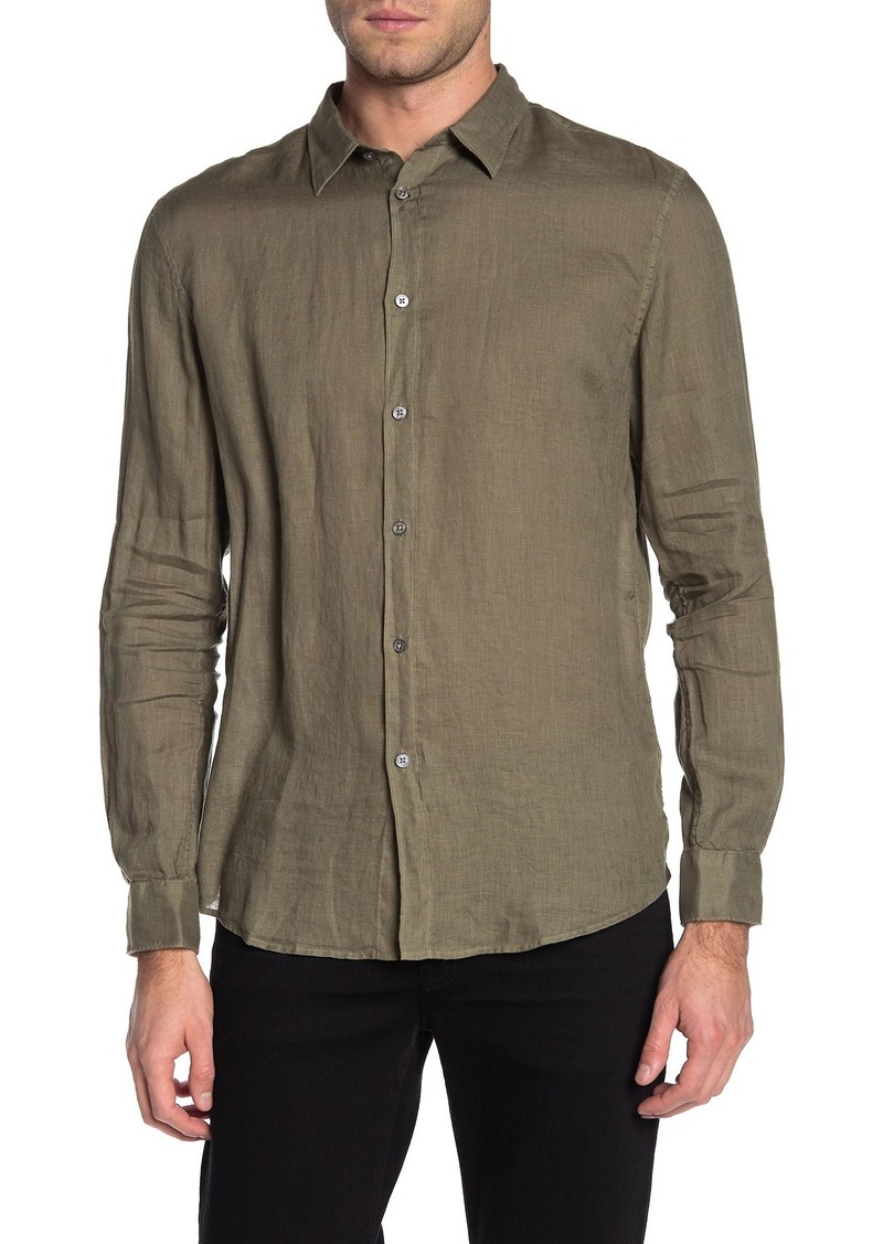 John Varvatos Linen Garment Dyed Classic Fit Shirt