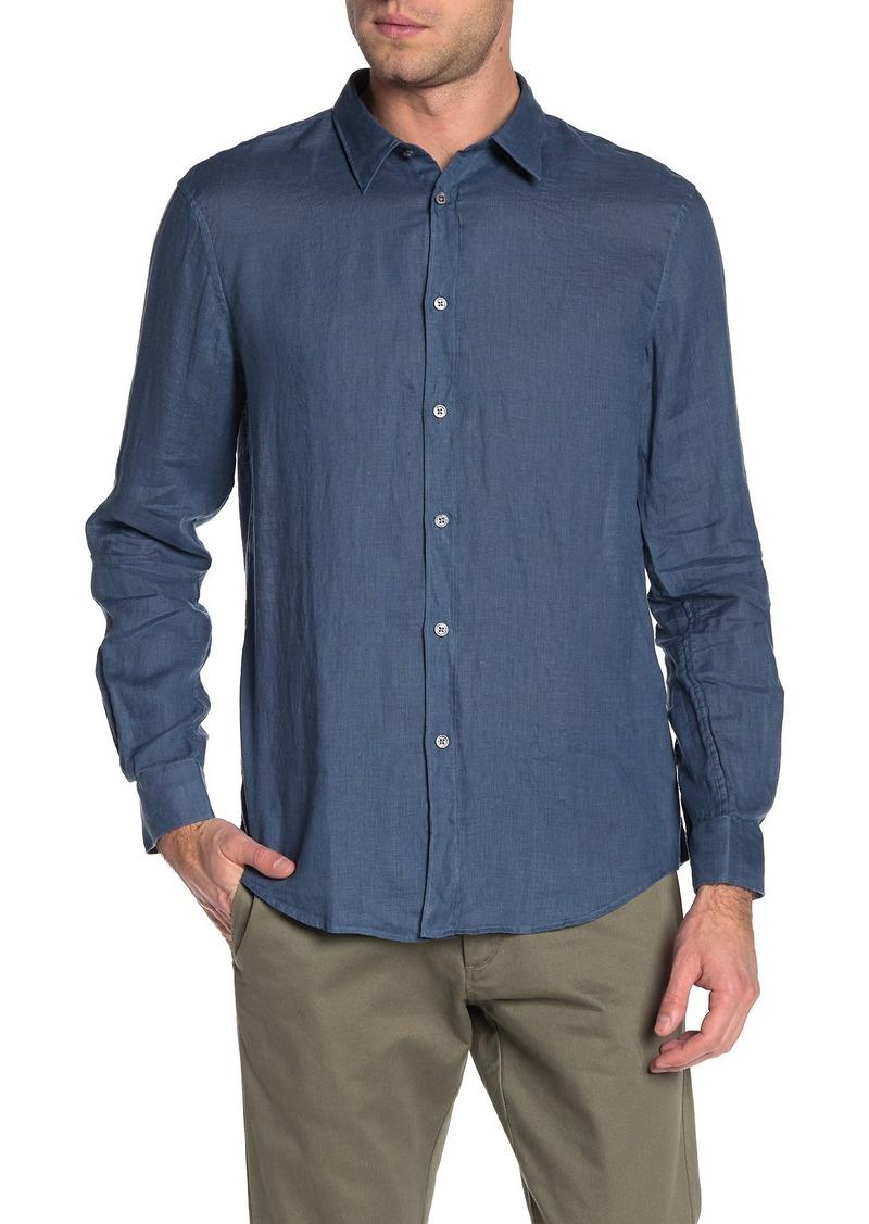 John Varvatos Linen Garment Dyed Classic Fit Shirt