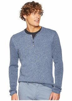 John Varvatos Long Sleeve Plated Henly w/ Rib Detail