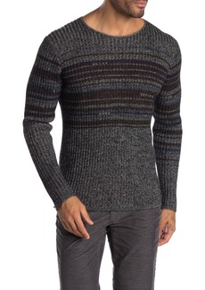 John Varvatos Long Sleeve Stripe Print Knit Pullover