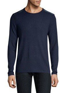John Varvatos Long Sleeve Velvet Shoulder Crewneck Sweater