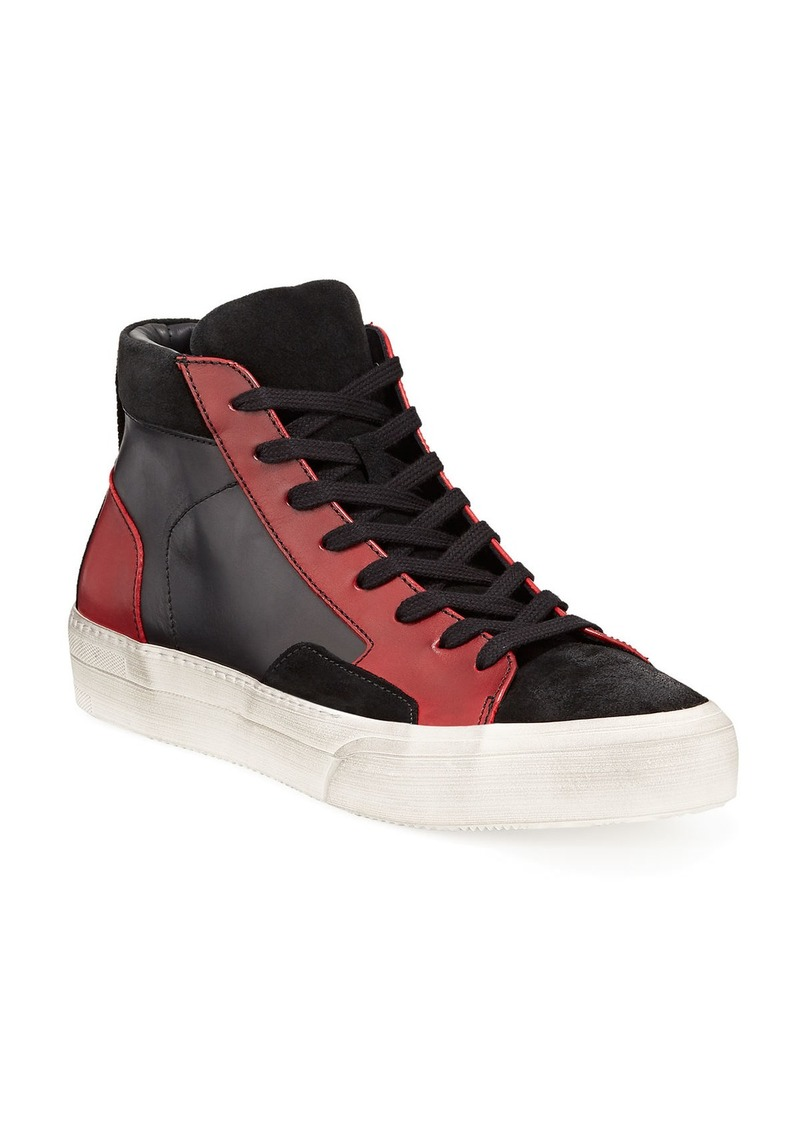 John Varvatos Men's 315 Mac Leather/Suede High-Top Skate Sneakers