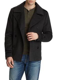 John Varvatos Men's Amos Velvet-Trim Wool Pea Coat