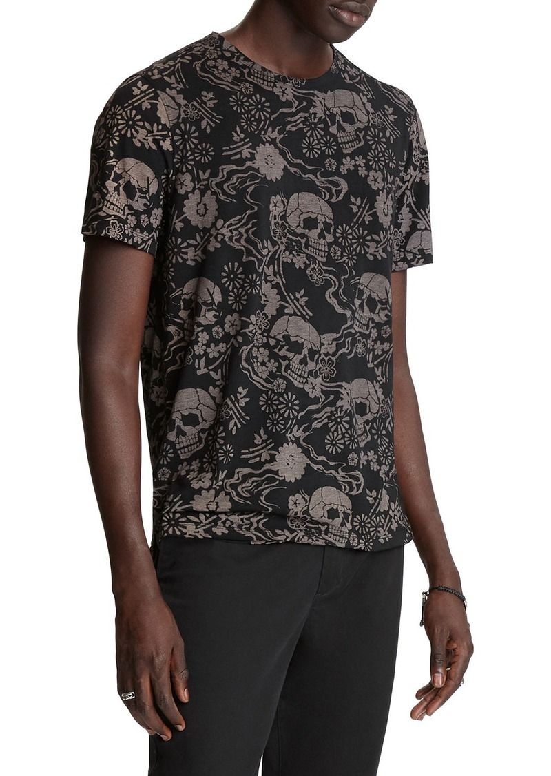 John Varvatos Men's Auburn Floral Skull Burnout T-Shirt