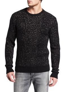 John Varvatos Men's Boulder Leopard-Jacquard Crewneck Sweater