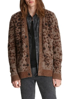 John Varvatos Men's Brushed Leopard-Pattern Cardigan