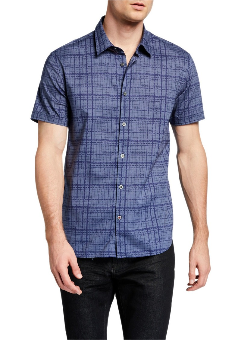 John Varvatos Men's Check-Print Short Sleeve Sport Shirt