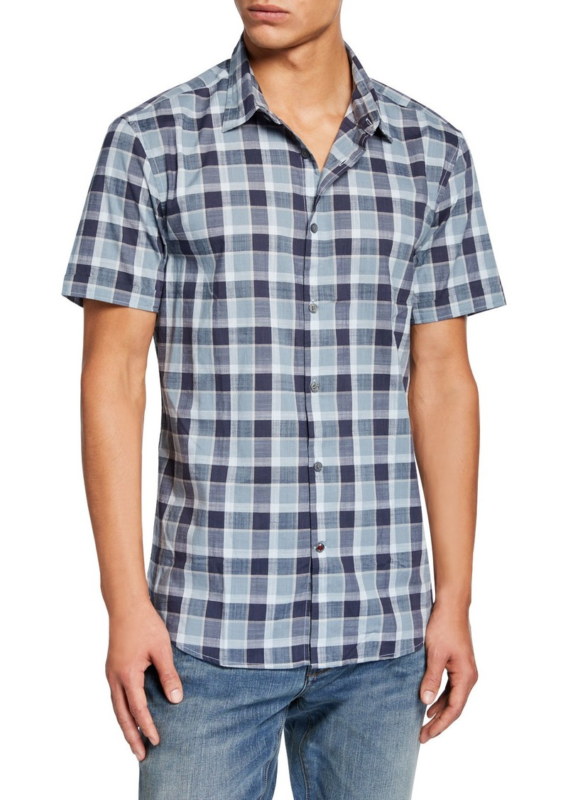 John Varvatos Men's Check Short-Sleeve Sport Shirt