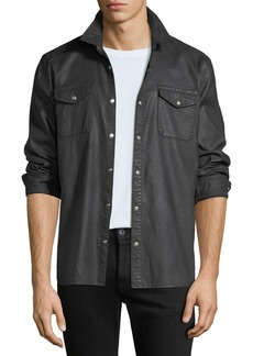 John Varvatos Men's Coated Denim Sport Shirt