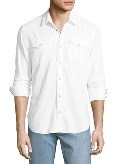 John Varvatos Men's Cotton Western Shirt