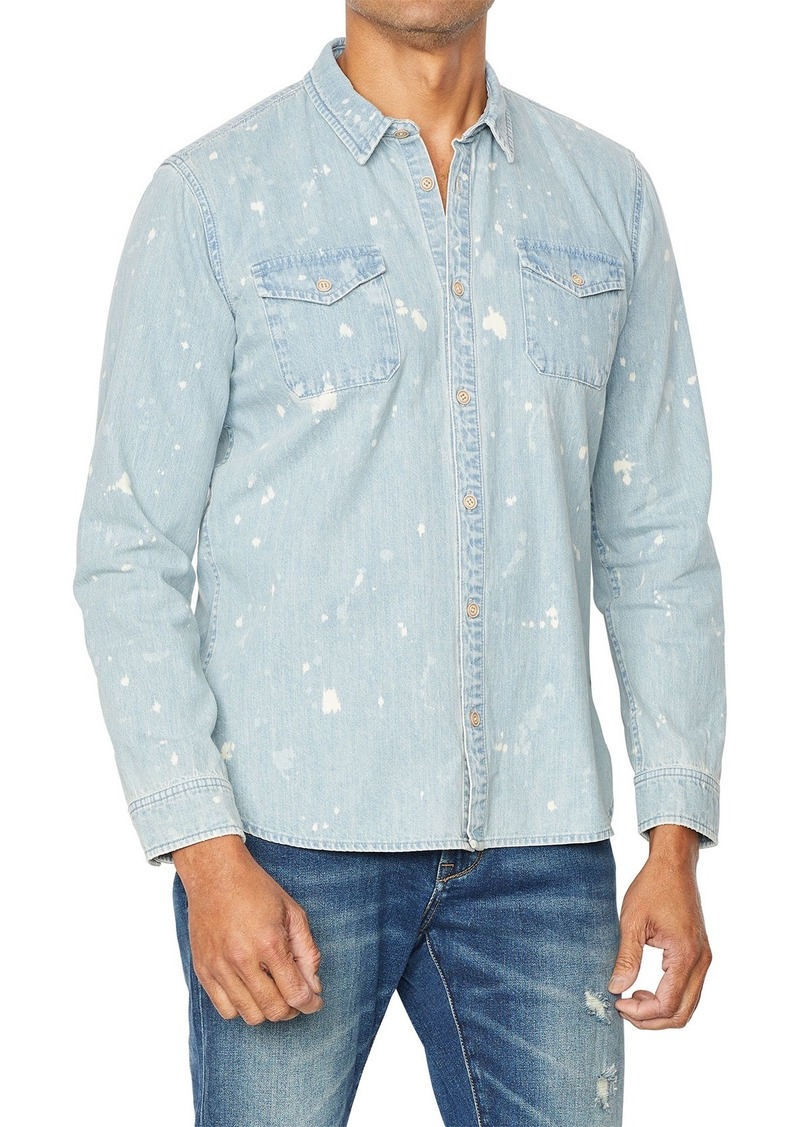 John Varvatos Men's Dale Splatter Wash Long-Sleeve Denim Shirt
