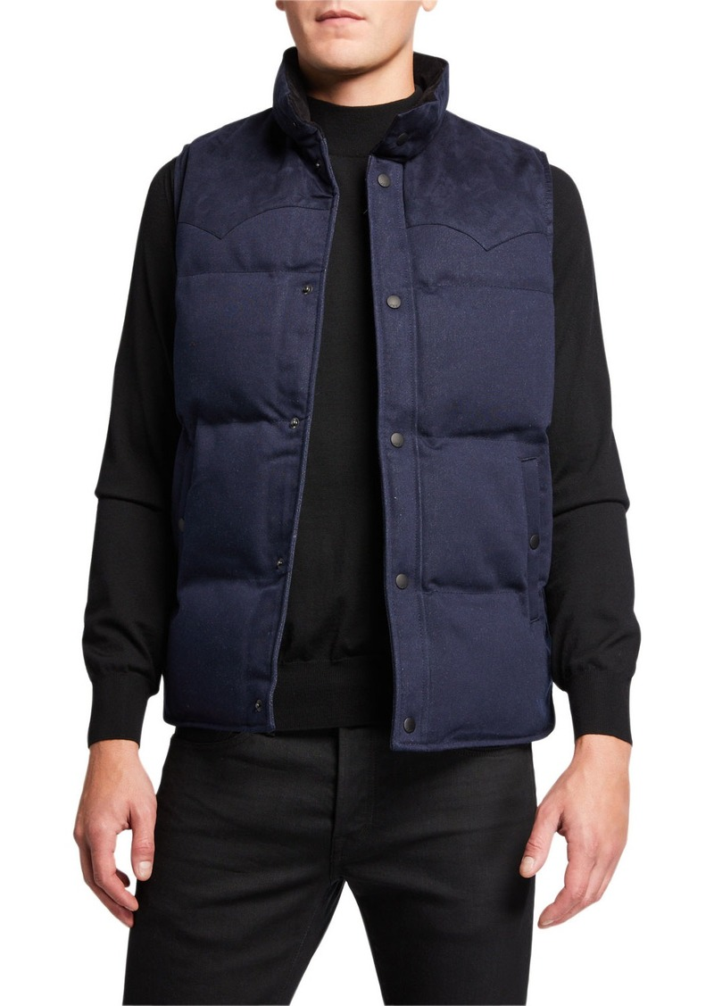 John Varvatos Men's Decker Denim Puffer Vest