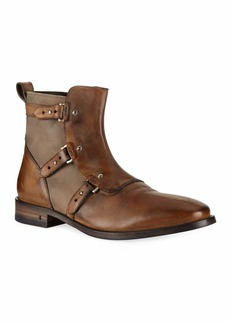 John Varvatos Men's Fleetwood Leather Pin Strap Boots