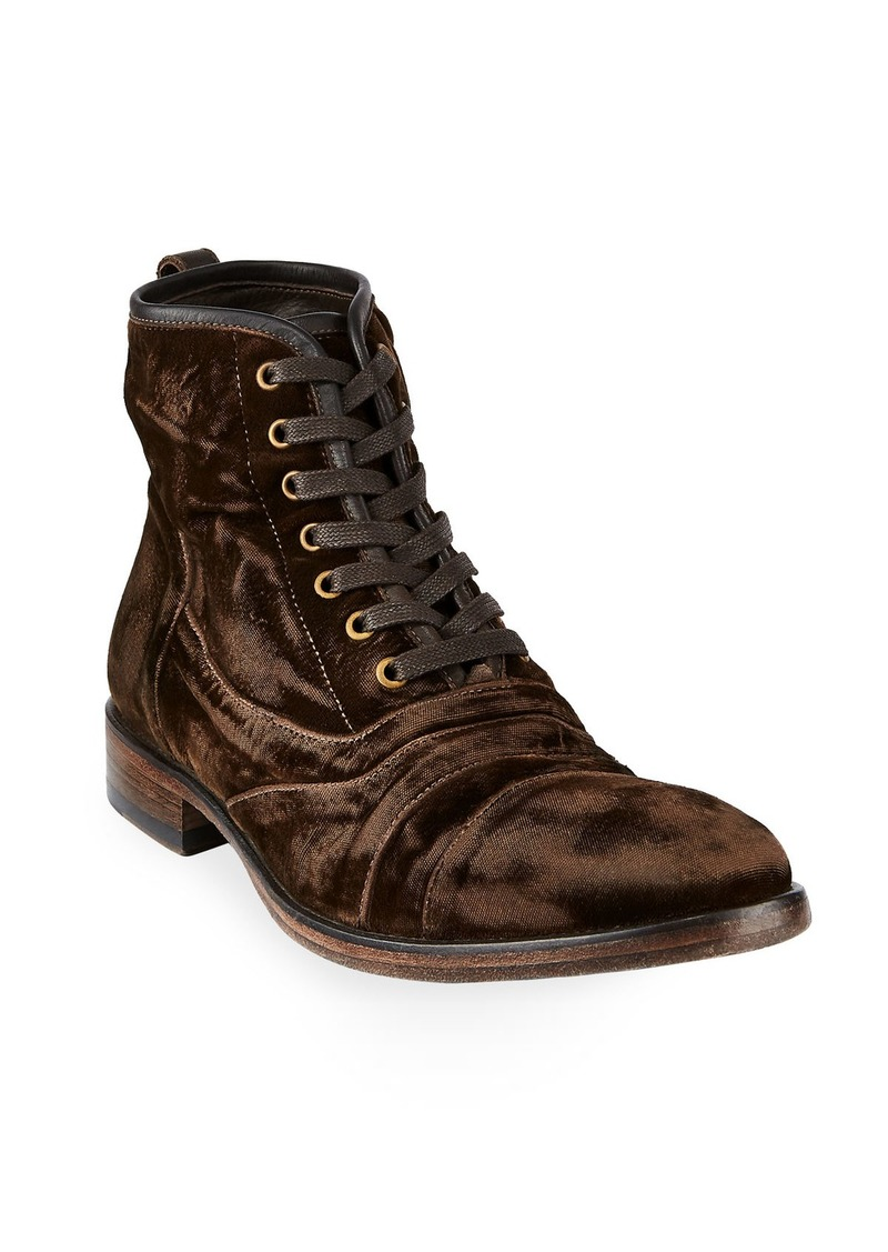 John Varvatos Men's Fleetwood Velvet Lace-Up Boots