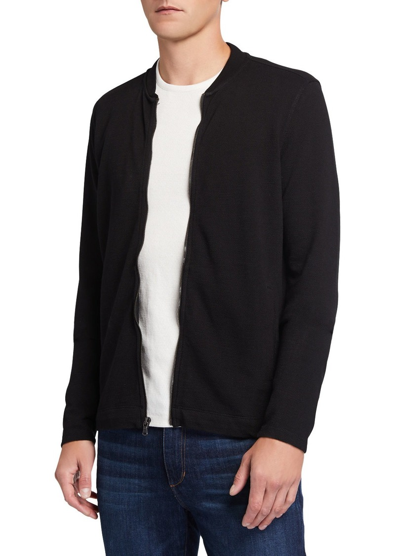 John Varvatos Men's Full-Zip Cotton Baseball Jacket