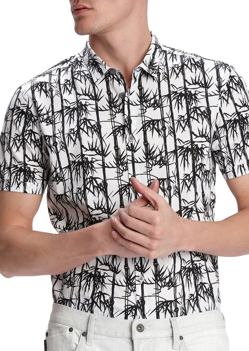 John Varvatos Men's Jasper Bamboo-Print Short-Sleeve Sport Shirt