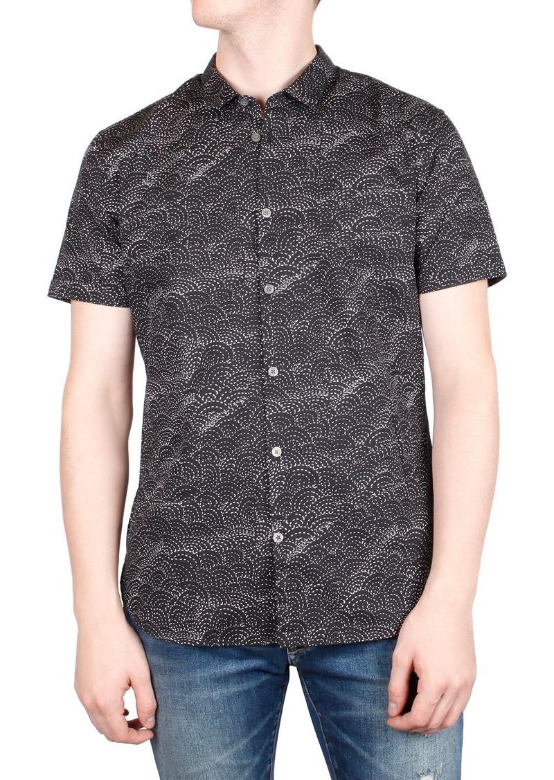 John Varvatos Men's Jasper Sashiko-Print Short-Sleeve Sport Shirt