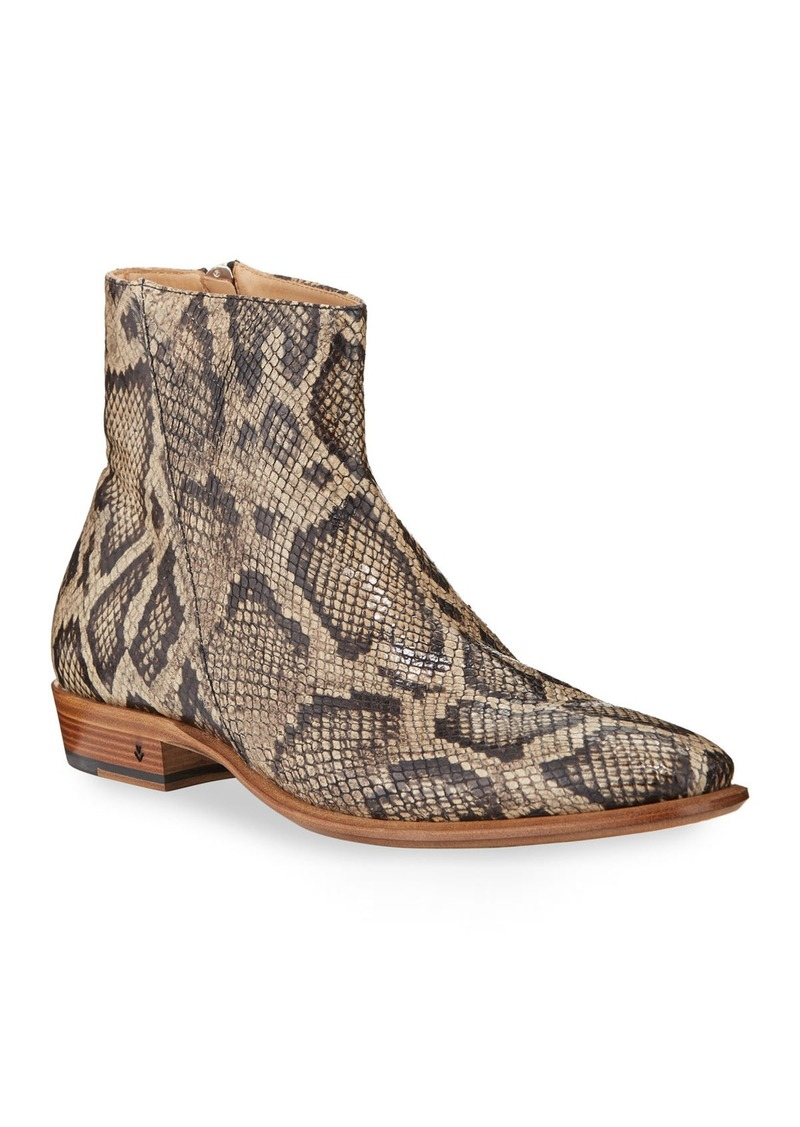 John Varvatos Men's Lewis Python-Print Side-Zip Boots