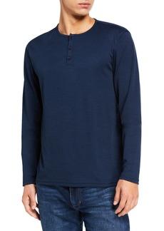 John Varvatos Men's Long-Sleeve Henley Slub Shirt