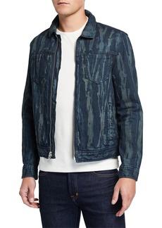 John Varvatos Men's Lucas Zip-Front Denim Trucker Jacket