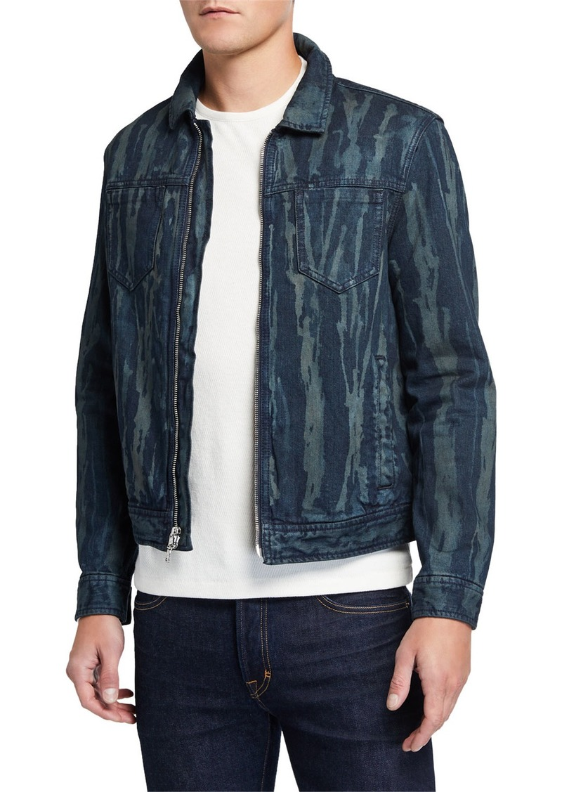 John Varvatos Men's Lucas Zip-Front Denim Trucker Jacket