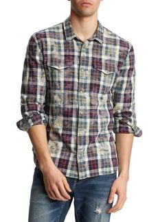 John Varvatos Men's Marshall Plaid Bleach Wash Western Shirt