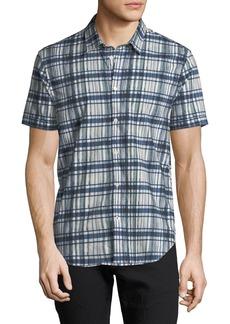 John Varvatos Men's Plaid Short-Sleeve Sport Shirt