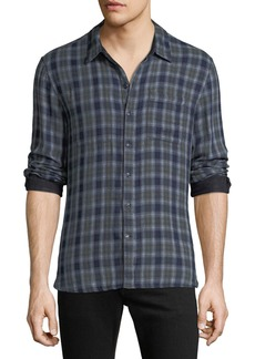 John Varvatos Men's Reversible Plaid Sport Shirt