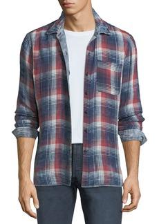 John Varvatos Men's Reversible Plaid/Check Sport Shirt