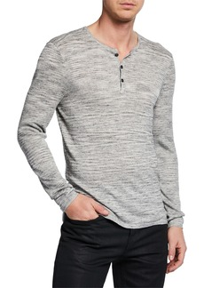 John Varvatos Men's Sean Melange-Knit Henley Shirt