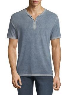 John Varvatos Men's Short-Sleeve Snap Henley Shirt