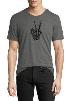 John Varvatos Men's Skeleton Peace Sign T-Shirt