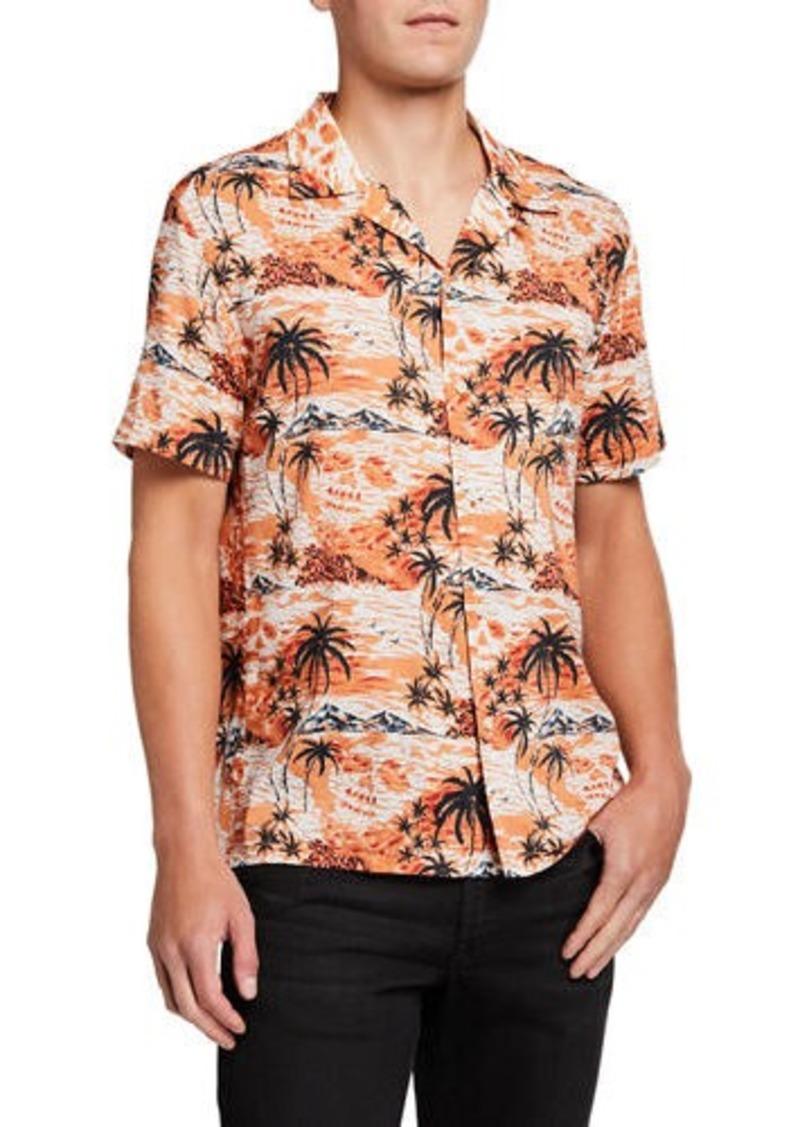 John Varvatos Men's Skip Island Skull-Print Short-Sleeve Sport Shirt