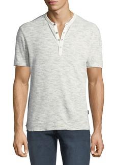 John Varvatos Men's Space-Dyed Waffle-Knit Henley Shirt