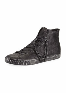 John Varvatos Men's Studded Mid-Top Leather Sneakers