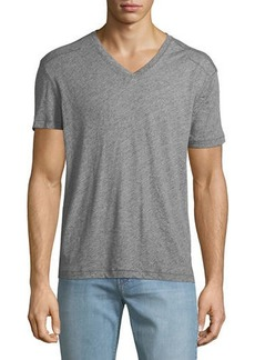 John Varvatos Men's V-Neck Heathered T-Shirt with Stitching Detail