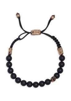 John Varvatos Mercer Brass & Cabochon Onyx Adjustable Bracelet