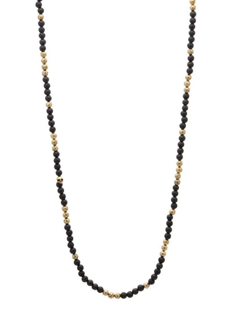 John Varvatos Mercer Brass & Lava Bead Necklace