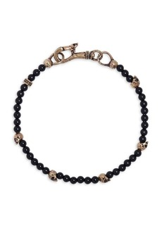 John Varvatos Mercer Brass & Onyx Skull Beaded Bracelet