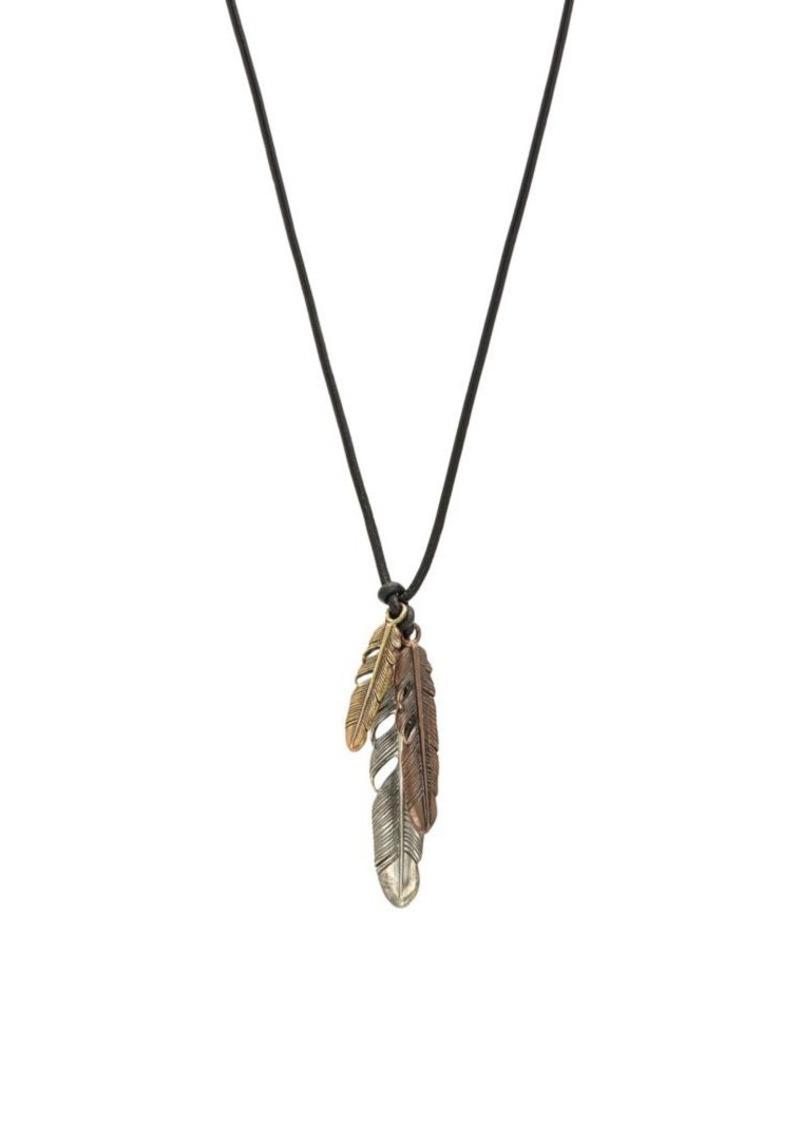 John Varvatos Mercer Mixed Metal Feather Pendant Necklace