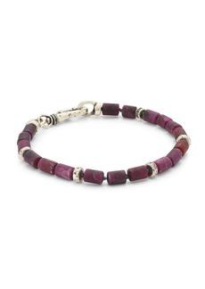 John Varvatos Mercer Silver Ruby Bead Bracelet