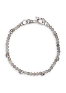 John Varvatos Mercer Sterling Silver & Labradorite Skull Bracelet