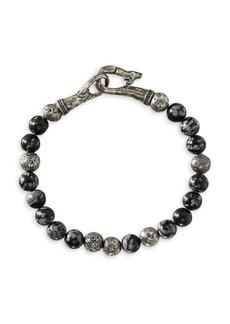 John Varvatos Mercer Sterling Silver & Obsidian Bead Bracelet