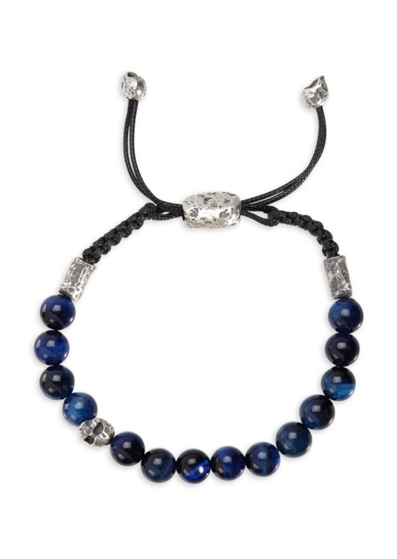 John Varvatos Mercer Sterling Silver & Tiger Eye Bead Adjustable Bracelet