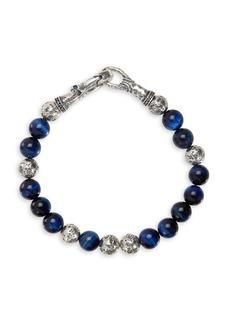 John Varvatos Mercer Sterling Silver & Tiger Eye Bead Bracelet