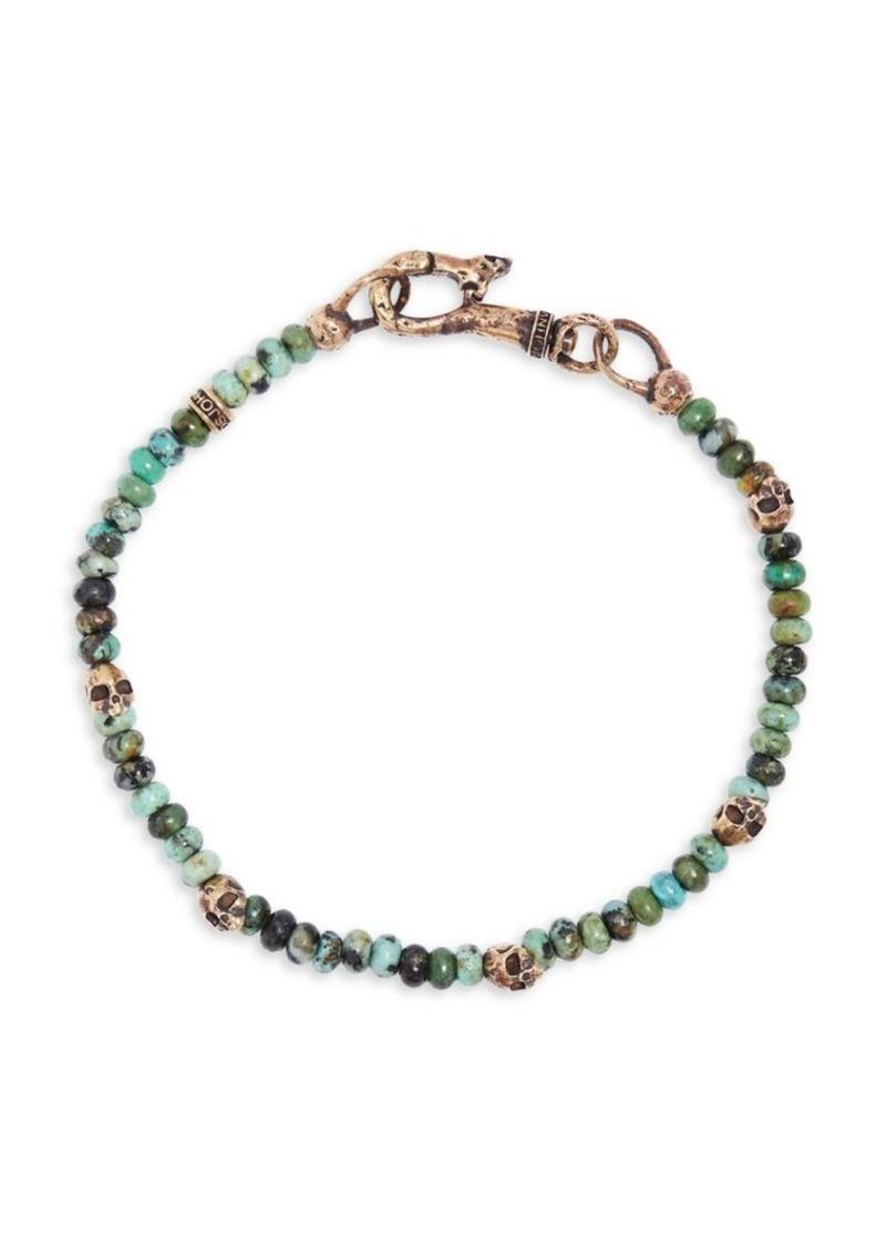 John Varvatos Mercer Turquoise & Brass Skull Beaded Bracelet