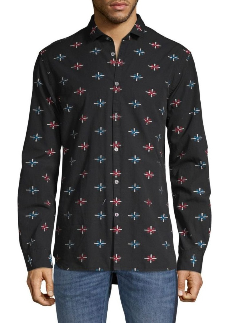 John Varvatos Multicolored-Print Long-Sleeve Shirt