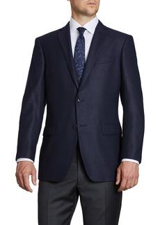 John Varvatos Notch Lapel Navy Wool Blend Sport Coat