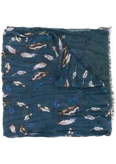 John Varvatos painted feather scarf