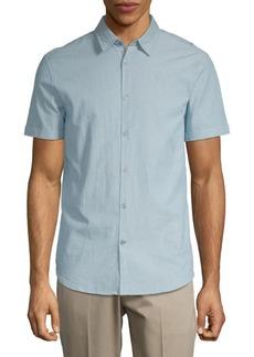 John Varvatos Pinstripe Short-Sleeve Cotton Button-Down Shirt